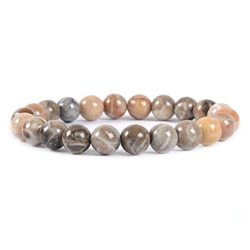 Natural Coral Fossil Petoskey Stone Gemstone 8mm Round Beads Stretch Bracelet 7