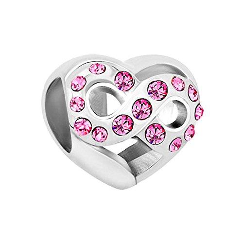 ShinyJewelry Infinity Heart Love Charm Synthetic October Birthstone Bead for European Bracelet