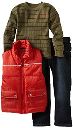 Calvin Klein Little Boys' Long Sleeve Tee And Jean Puffy Vest, Orange, 5
