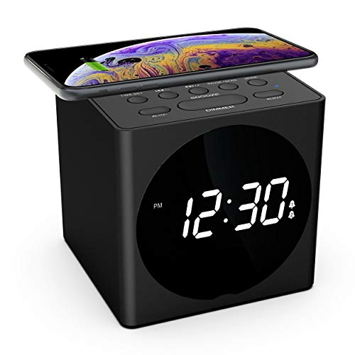 (Wireless Charging Alarm Clock Radio for Bedroom, Wireless Charger Compatible iPhone X iPhone 8 with Bluetooth Speaker, USB Charging, FM Radio, Loud Alarm for Heavy Sleepers, 4 Dimmers, Snooze, Black)