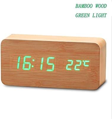 RTMN Reloj Despertador Reloj Digital de Madera Termómetro Relojes ...