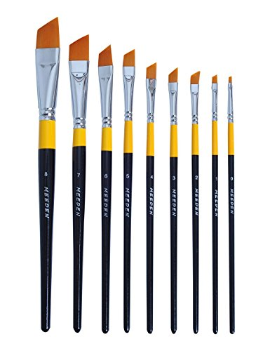 Angular Artist Brush Set - MEEDEN Angular Paint Brushes Set for Oil Acrylics Watercolor and Gouache Color Painting , 9-Piece