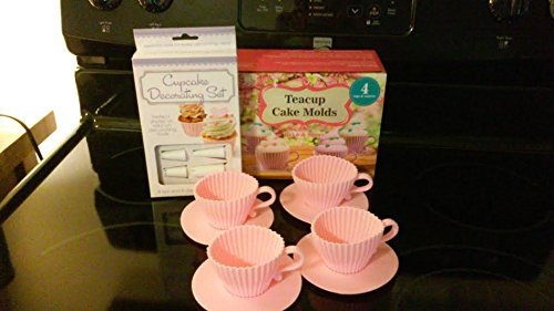 Gift under $15.00, Silicone Teacup Cupcake Molds/Decorating Kit,Gift for Mom and Dads,Gift for Girls and Boys