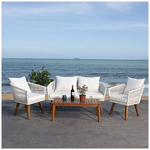 Garden and Outdoor Safavieh Outdoor Collection Velso Beige 4-Piece Patio Set patio furniture sets