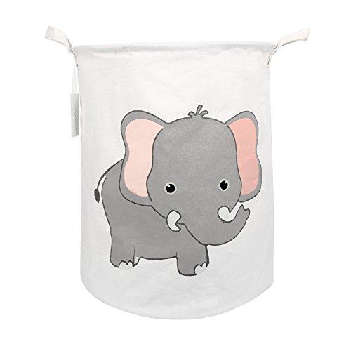 Zonyon Collapsible Laundry Hamper, 17'' Jumbo Large Dirty Clothes Laundry Storage Basket for Kids,Boys,Girls,Toys,Closet,College Dorm,Bathroom,Cute Elephant ()