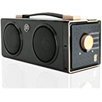 Portable Boombox Retro Stereo Rechargeable Speaker by GOgroove - SonaVERSE BXL - Dual Drivers, 12W Peak Power, 7 Hour Battery Life - Plays Music From 3.5mm AUX Port, SD Card, USB Flash Thumb Drive