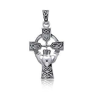Bling Jewelry Plata Esterlina Cruz Celta Claddagh Colgante Corazón