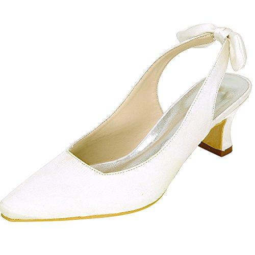 LOSLANDIFEN Womens Satin Closed Toe Mid Heel Wedding Bridal Shoes Ivory-c 0zMmUSQQFo