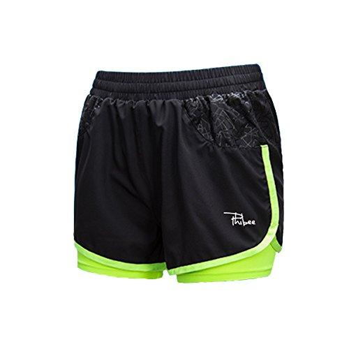 PHIBEE Women's 2-In-1 Running Shorts Elasticity Lightweight Sweatpants, Black, - Women's Running Liner Shorts With