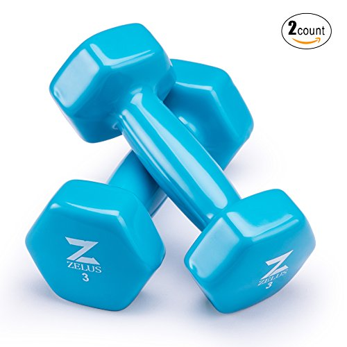 ZELUS Cast Iron Vinyl Coated Dumbbells Hand Weights for Women/Men Workout (Set of 2) (3)