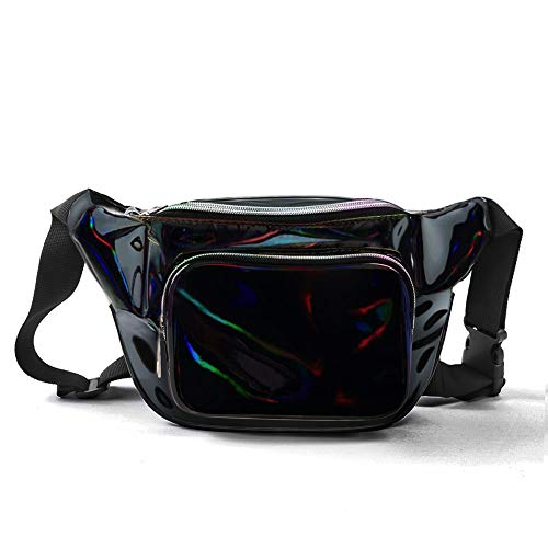 JIGSEAME Holographic Fanny Pack Waterproof Waist Bag for Women-Fashion Waist Bag for Travel,Cycling,Festival and Leisure (Black)]()