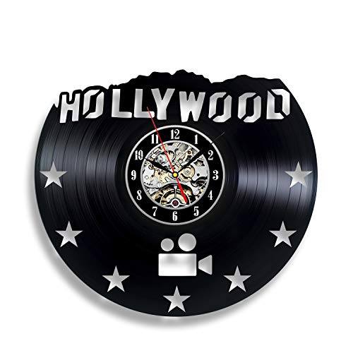 "Handmade Solutions EU Hollywood Hill Letters Sign 12"" Vinyl Record Wall Clock - Elegant Decoration for Your Home"