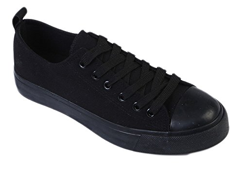 Kids Tie up Slip on Canvas Sneakers with Laces for Children- Girls and Boys (13 Kids, All Black)