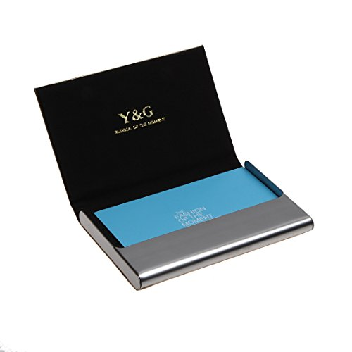 Leather Case Holder Card Business (Y&G YDC05A13 Light Gold Black Business Dad Leather Card Holder Holidays Business Card Cases With Gift Box)