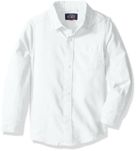 The Children's Place Baby Boys' Uniform Solid Long Sleeve Oxford Shirt, White 5070, 6-9 Months
