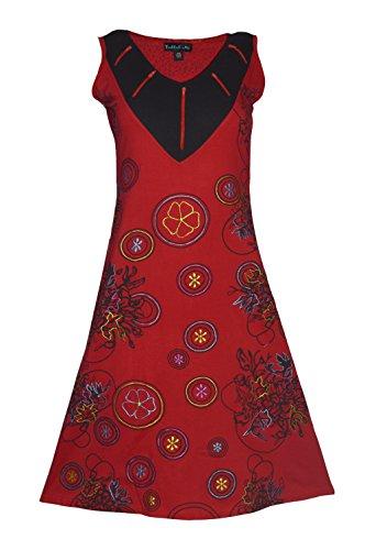 Vestido sin mangas de las señoras con la impresión floral y bordado Rojo
