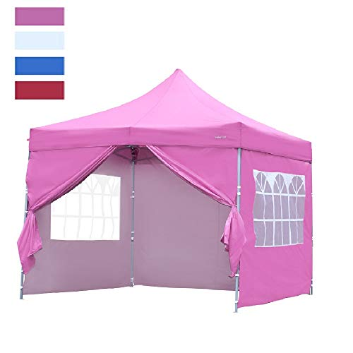 Leisurelife Heavy Duty 10'x10' Pop Up Canopy Tent with Sidewalls - Pink Outdoor Folding Commercial Gazebo Party Tent