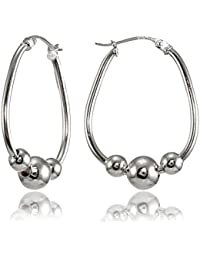 Sterling Silver Polished Beaded 18mm Hoop Earrings