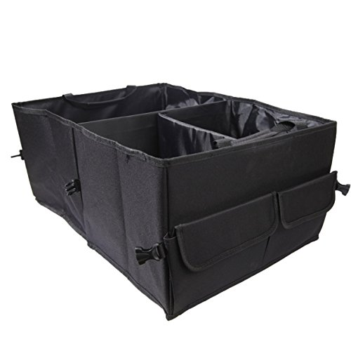 Vulcan-x Car Trunk Organizer Collapsible Foldable Automobile Space Saver Cargo with Toys Snacks Cans Drinks Books Clothes Tools 21.7 15.8 10.5 Inches Black