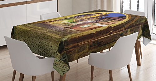 Ambesonne Wanderlust Decor Tablecloth, View of Riquewihr Alsace France Through City Wall Gate at Night Historical Town Picture, Dining Room Kitchen Rectangular Table Cover, 60 X 84 inches, Brown