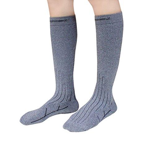 CompressionZ Thermal Lightweight OTC Performance Ski Socks (Graduated 20-30mmHg) - Heather Gray (Blue Micro Performance Fleece)