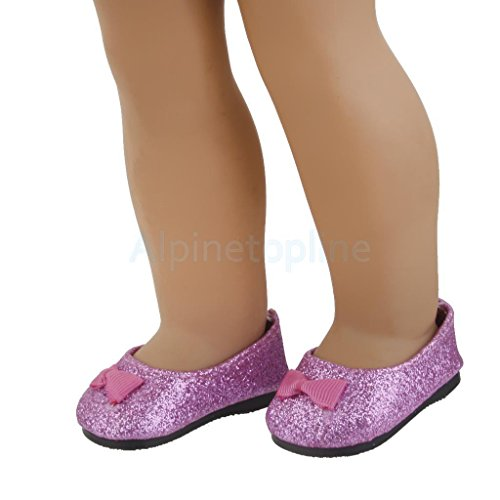 Bling Bling Purple Bownot Shoes for 18inch American Girl Dolls Party Dress by alpinetopline