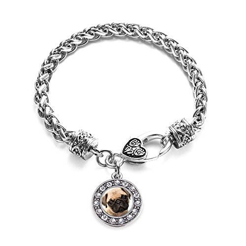 Inspired Silver Pug Circle Charm Braided Bracelet Silver Plated with Crystal Rhinestones
