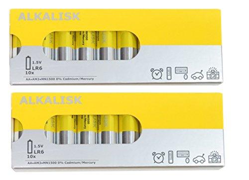 IKEA ALKALISK Alkaline AA battery  2 Packs(10 each) total 20 PIECES