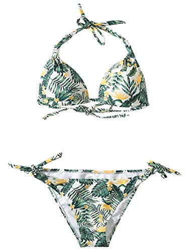 SSLR Women's Halter Swimwear Printed Two Piece Bikini Sets (Small (US 4-6), Beige)
