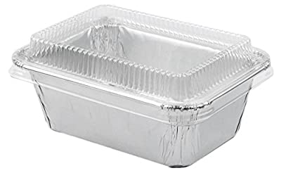 "Durable Foil Mini Loaf Bread Pan , Mini Cake Pan 3-11/16"" Disposable Baking Container With Lids 20 Sets"