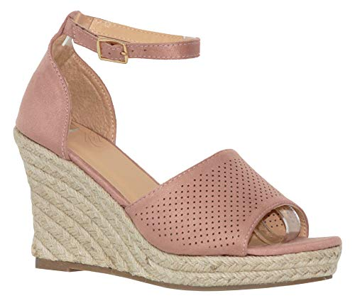 MVE Shoies Womens Stylish Comfortable Ankle Adjustable Strap Open Toe Wedge Sandal, Dusty Pink 10