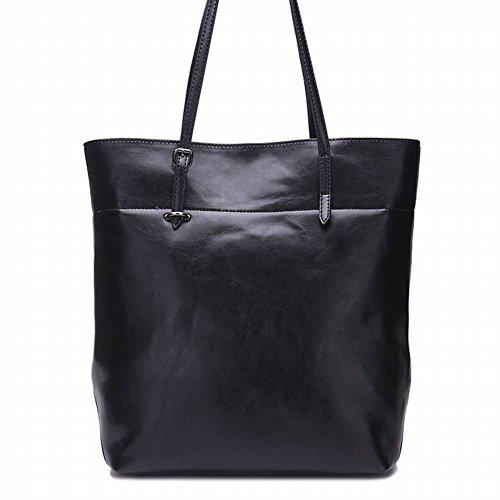 Zweifarbige Wachs Leder Handtaschen Große Tasche Damen Schultertasche Trend Pack , Kaffee