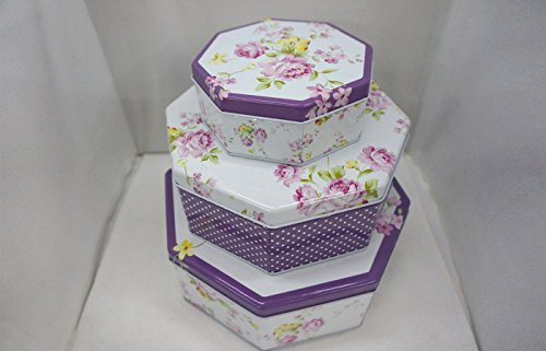 Very Elegant purple and white octagon shaped set of 3 storage tins, shabby chic, with Beautiful floral design
