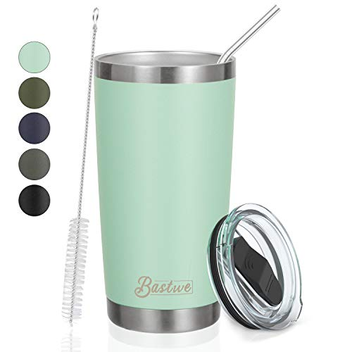 20oz Stainless Steel Tumbler with Straw, Bastwe Double Wall Vacuum Insulated Travel Mug for Home, Office, School, Works Great for Ice Drink, Hot Beverage (1 Pack, Seafoam)