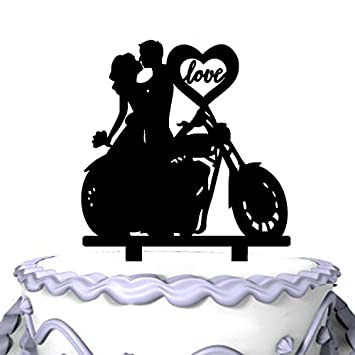 Meijiafei Unique Motorcycle Couple Monogram Wedding Cake Topper Soiree Collection