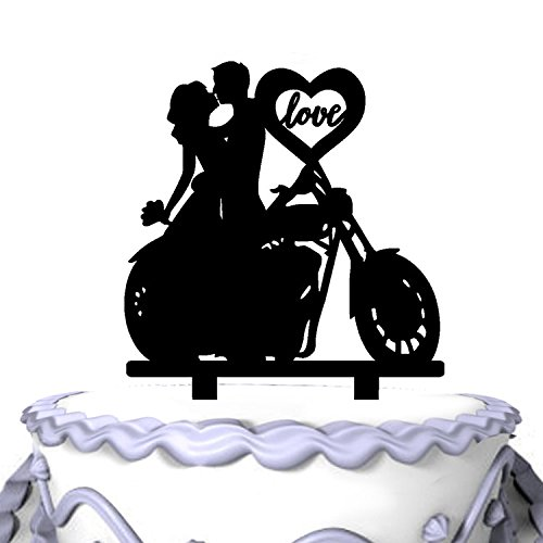 Meijiafei Unique Motorcycle Couple Monogram Wedding Cake Topper-Soiree - Monogram Black Cake Topper