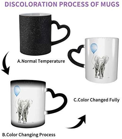 beb/é animal elefante acuarela globo azul ry habitaci/ón taza sensible al calor que cambia de color caf/é m/ágico DJNGN Taza que cambia de color