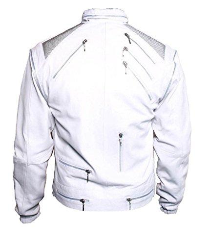 HLS Men's Beat It Soft Faux white Leather Jacket