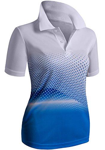CLOVERY Functional Fabric Point Collar Design Short Sleeve Casual POLO AQUA US XL / Tag XL - Ladies Moisture Free Pique