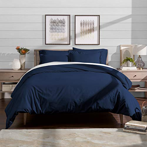 Bare Home Luxury 2 Piece Duvet Cover and Sham Set - Premium 1800 Ultra-Soft Brushed Microfiber - Hypoallergenic, Easy Care, Wrinkle Resistant (Twin/Twin XL, Dark Blue)