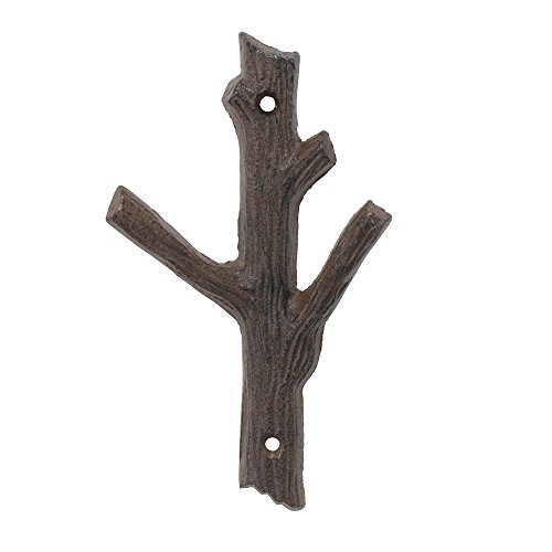 Stonebriar Decorative Rust Color Cast Iron Tree Branch Wall Hook, Double Wall Hook, Indoor or Outdoor Use, For Entryway, Bathroom, Bedroom, or Patio (Tree Wood Wall Decor Branch)