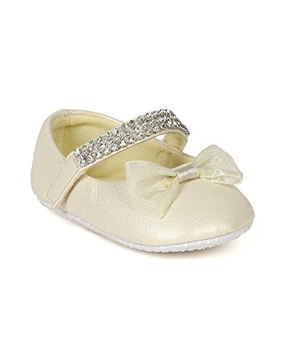 Jelly Beans BD60 Leatherette Rhinestone Mary Jane Velcro Bow Ballerina Flat (Baby Girl / Toddler) - Pearl (Size: Toddler 4)