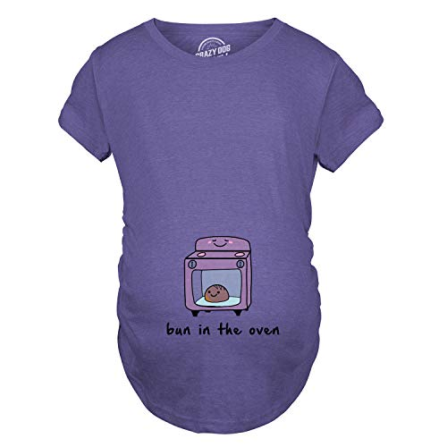 Maternity Bun in The Oven T Shirt Funny Pregnancy Announcement Tee (Heather Purple) - XL ()