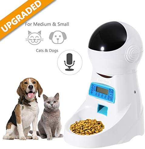 Automatic Cat Feeder Pet Food Dispenser Feeder Medium Large Cat Dog 4 Meal, Voice Recorder Timer Programmable,Portion Control