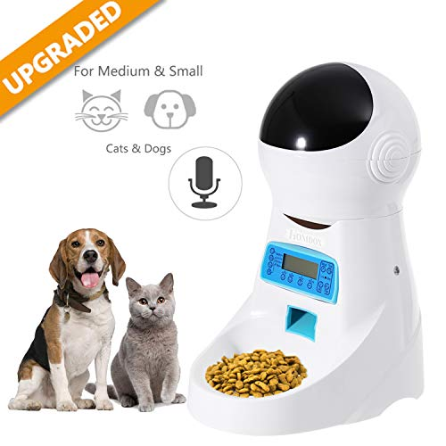 Automatic Cat Feeder Pet Food Dispenser Feeder Medium Large Cat Dog--4 Meal, Voice Recorder Timer Programmable,Portion -