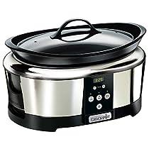 Crock-Pot Olla de cocción lenta digital de 5.7 L, color plateado