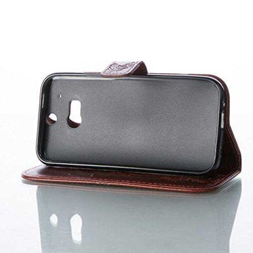 Trumpshop Smartphone Carcasa Funda Protección para HTC Desire 816 + Púrpura + PU Cuero Caja Protector Billetera con Cierre magnético la Ranura la Tarjeta Choque Absorción Marrón