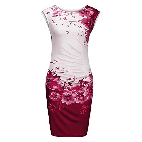 Sttech1 Women's Retro Chinese Style Floral Print Slim Pencil Dress Plus Size