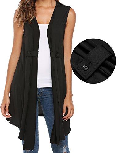 Zeagoo Women's Lightweight Sleeveless Open Front Cardigan Asymmetrical Hem (Silk Sweater Vest)