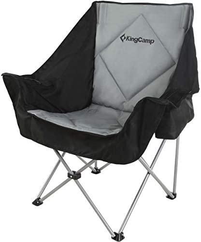 KingCamp Oversize Camping Folding Sofa Chair Padded Seat with Cooler Bag and Armrest Cup Holder, Black Dark Gray